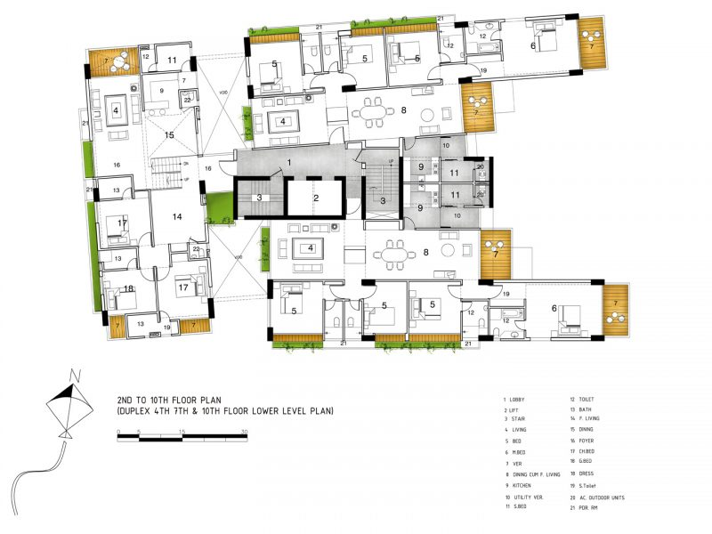 2nd-10th floor (Duplex 4th, 7th & 10th floor Lower Level Plan)